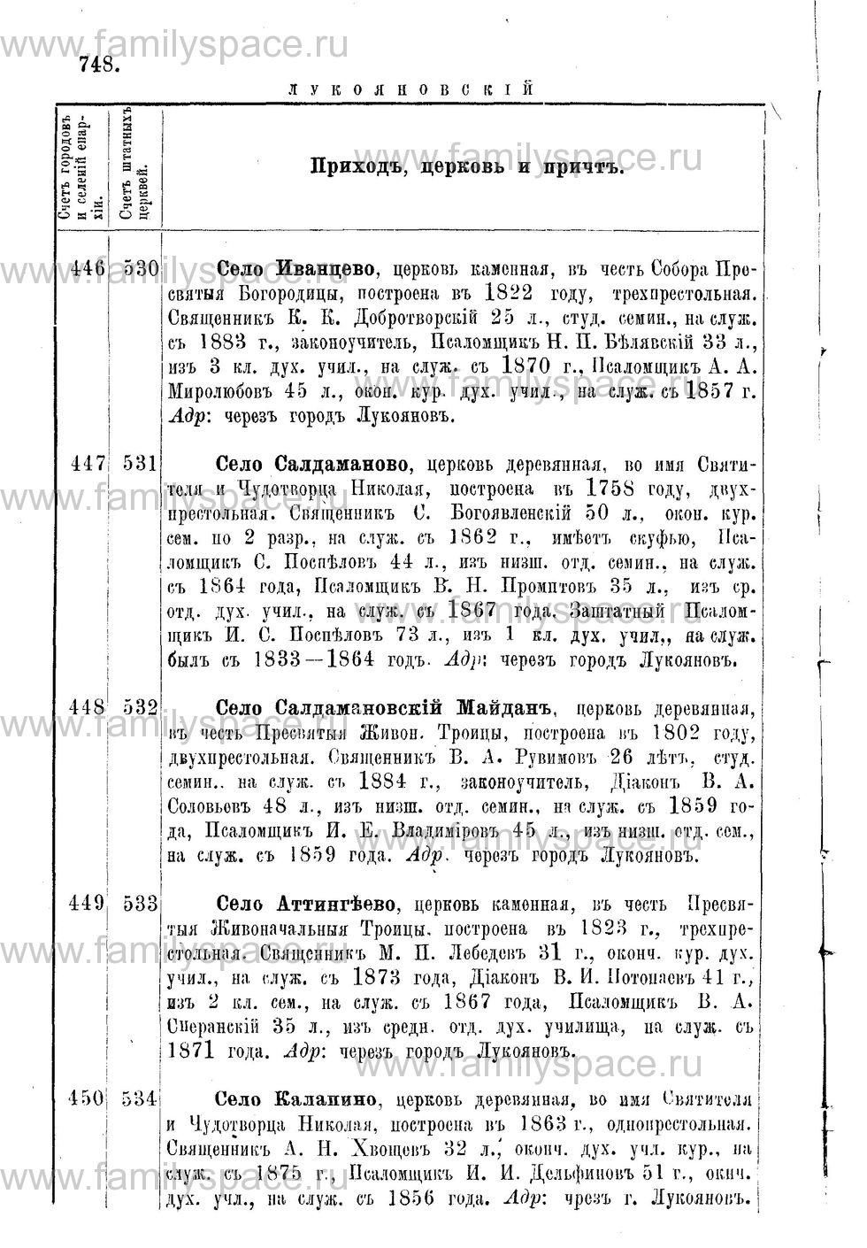 Поиск по фамилии - Адрес-календарь Нижегородской епархии на 1888 год, страница 1748