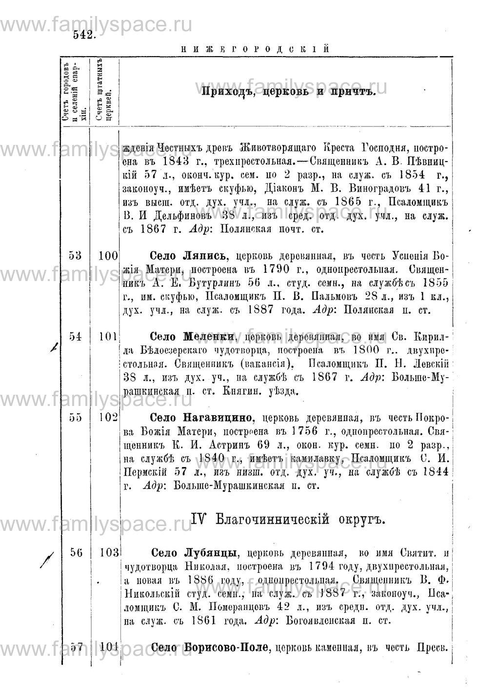 Поиск по фамилии - Адрес-календарь Нижегородской епархии на 1888 год, страница 1542